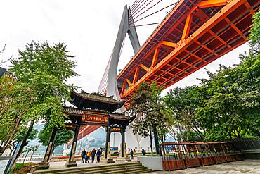 View of Masangxi Bridge and city urban architecture, Yuzhong District, Chongqing, China, Asia
