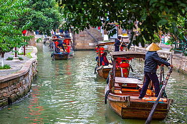 View of boats on waterway in Zhujiajiaozhen water town, Qingpu District, Shanghai, China, Asia