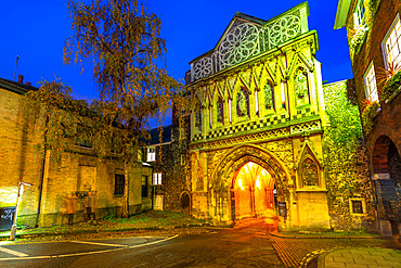 View of The Ethelbert Gate at dusk, Norwich, Norfolk, East Anglia, England, United Kingdom, Europe