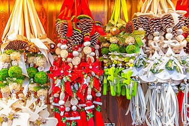 Christmas decorations on Christmas Market in Marienplatz, Munich, Bavaria, Germany, Europe