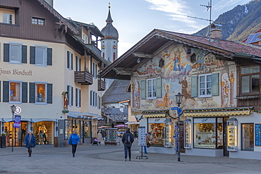 Ornate architecture and Parish Church of St. Martin, Garmisch-Partenkirchen, Bavaria, Germany, Europe
