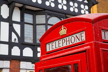 Telephone box on Northgate Street, Chester, Cheshire, England, United Kingdom, Europe