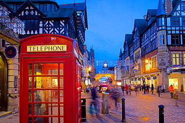 East Gate and telephone box at Christmas, Chester, Cheshire, England, United Kingdom, Europe