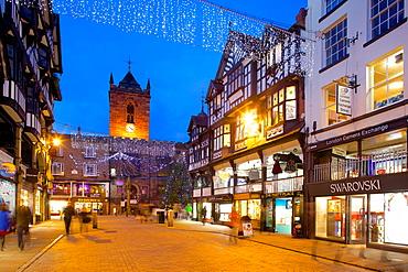 Bridge Street at Christmas, Chester, Cheshire, England, United Kingdom, Europe