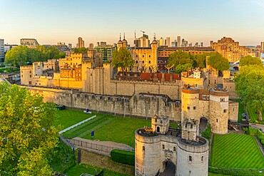 View of the Tower of London from Cheval Three Quays at sunset, London. Property released for viewpoint - 844-23641
