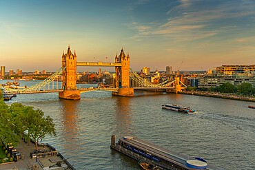 View of Tower Bridge and river Thames from Cheval Three Quays at sunset, London, England. Property released for viewpoint - 844-23644
