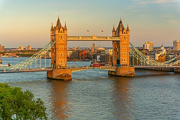 View of Tower Bridge and river Thames from Cheval Three Quays at sunset, London, England. Property released for viewpoint - 844-23645