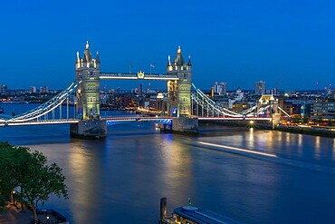 View of Tower Bridge from Cheval Three Quays at dusk, London, England. Property released for viewpoint - 844-23649