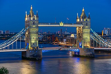 View of Tower Bridge from Cheval Three Quays at dusk, London, England, United Kingdom, Europe. Property released for viewpoint - 844-23651