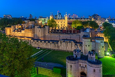 View of the Tower of London from Cheval Three Quays at dusk, London, England. Property released for viewpoint - 844-23652