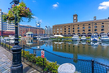 View of St Katherine Dock and the City in background, London, England, United Kingdom, Europe - 844-23654