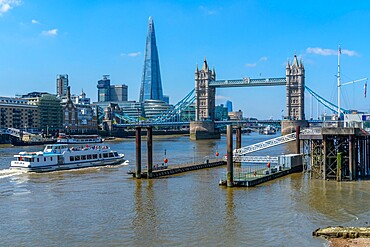 View of Tower Bridge and The Shard with tour boat on the Thames, London, England, United Kingdom, Europe - 844-23655