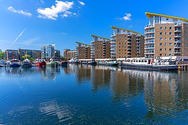 View of the marina at the Limehouse Basin, Tower Hamlets, London, England, United Kingdom, Europe - 844-23661