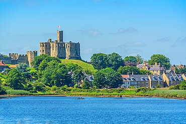 View of Warkworth Castle and River Coquet, Warkworth, Northumberland, England, United Kingdom. Europe