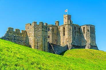 View of Warkworth Castle, Warkworth, Northumberland, England, United Kingdom, Europe