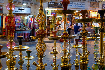 Hubble bubble (hooka) water pipes for sale in the Souq Waqif, Doha, Qatar, Middle East