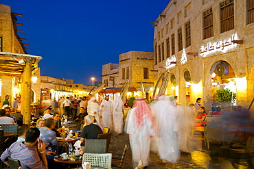 Souq Waqif at dusk, Doha, Qatar, Middle East