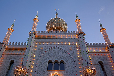 Pavilion at dusk, Tivoli Gardens, Copenhagen, Denmark, Scandinavia, Europe