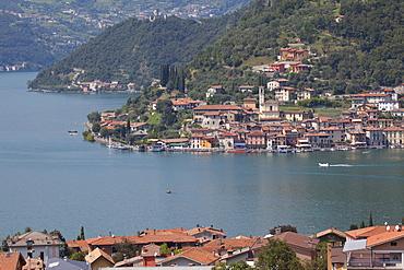 View of Monte Isola from near Sulzano, Lake Iseo, Lombardy, Italian Lakes, Italy, Europe