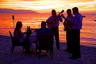 Dinner on the beach in Downtown at sunset, Puerto Vallarta, Jalisco, Mexico, North America - 844-4391