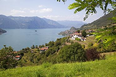 View toward Marone from near Sale Marasino, Lake Iseo, Lombardy, Italian Lakes, Italy, Europe