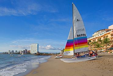 Beach scene and catamaran, Puerto Vallarta, Jalisco, Mexico, North America