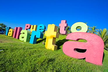 Colourful sign on Tepic Puerto Vallarta, Puerto Vallarta, Jalisco, Mexico, North America