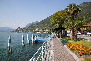 View of Marone Lake Iseo from Sale Marasino Promenade, Lombardy, Italian Lakes, Italy, Europe