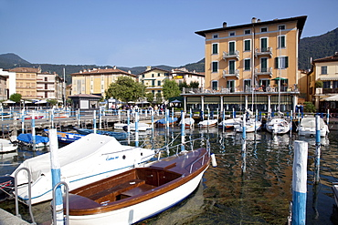 Harbour and boats, Iseo, Lake Iseo, Lombardy, Italian Lakes, Italy, Europe