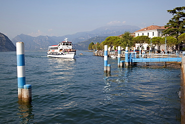 Harbour and sightseeing boat, Iseo, Lake Iseo, Lombardy, Italian Lakes, Italy, Europe