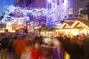 New Street and Christmas Market, City Centre, Birmingham, West Midlands, England, United Kingdom, Europe