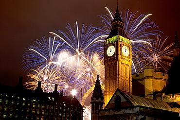 New Year fireworks and Big Ben, Houses of Parliament, Westminster, London, England, United Kingdom, Europe
