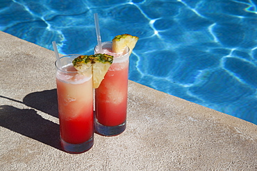 Colourful cocktails by the pool, Punta Cana, Dominican Republic, West Indies, Caribbean, Central America