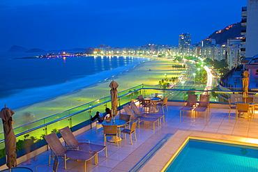 Copacabana Beach at dusk, Rio de Janeiro, Brazil, South America