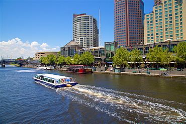 River Cruise on the Yarra River and city skyline, Melbourne, Victoria, Australia, Pacific
