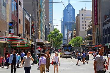 Busy City Centre street, Melbourne, Victoria, Australia, Pacific