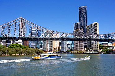 Story Bridge and City from New Farm Riverwalk, Brisbane, Queensland, Australia, Oceania
