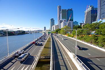 City Skyline and Pacific Motorway from Victoria Bridge, Brisbane, Queensland, Australia, Oceania