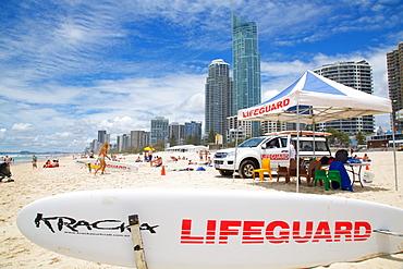 Surfers Paradise and Lifeguard Station, Gold Coast, Brisbane, Queensland, Australia, Oceania