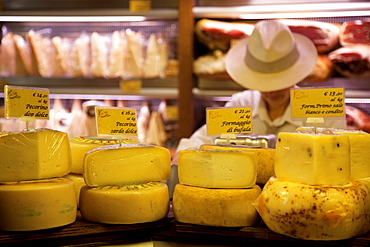 Local cheese shop, Bologna, Emilia Romagna, Italy, Europe