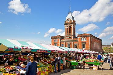 Market Hall and market stalls, Chesterfield, Derbyshire, England, United Kingdom, Europe