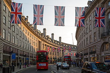 Union Jacks on Regent Street, London, England, United Kingdom, Europe
