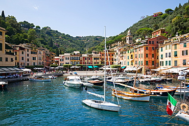 Harbour from boat in Portofino, Genova (Genoa), Liguria, Italy, Europe
