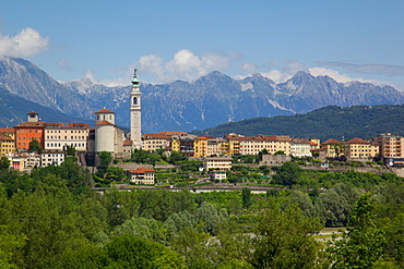 View of town and Duomo of San Martino, Belluno, Province of Belluno, Veneto, Italy, Europe