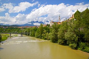 View of city and Duomo of San Martino, Belluno, Province of Belluno, Veneto, Italy, Europe
