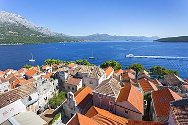 View from Katedrala Svetog Marka, in Korcula Town, Korcula, Dalmatia, Croatia, Europe