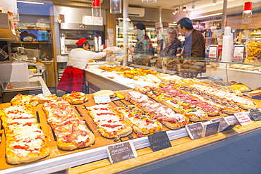 Pizza shop window, Venice, UNESCO World Heritage Site, Veneto, Italy, Europe
