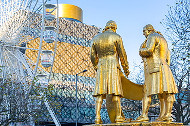 Boulton, Murdoch and Watt statue and Public Library Birmingham, West Midlands, England, United Kingdom, Europe