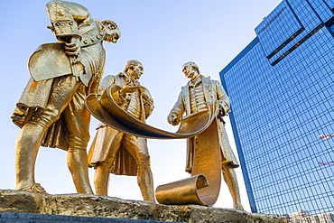 Boulton, Murdoch and Watt Statue, Birmingham, West Midlands, England, United Kingdom, Europe