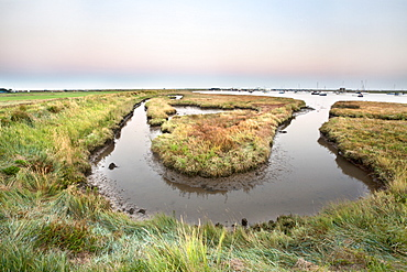 High tide at dusk, Aldeburgh Marshes, Suffolk, England, United Kingdom, Europe